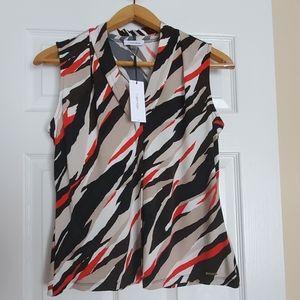 Calvin Klein sleeveless v neck blouse Sz Large NEW